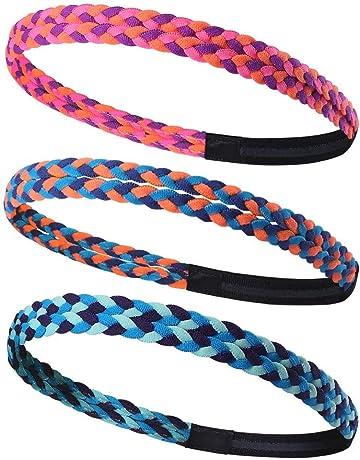 Amasawa 8 Pi/èces Bandeau de Sport /Élastique Antid/érapantes Mince Hairband pour Femmes et Hommes Yoga Jogging Faire Noir