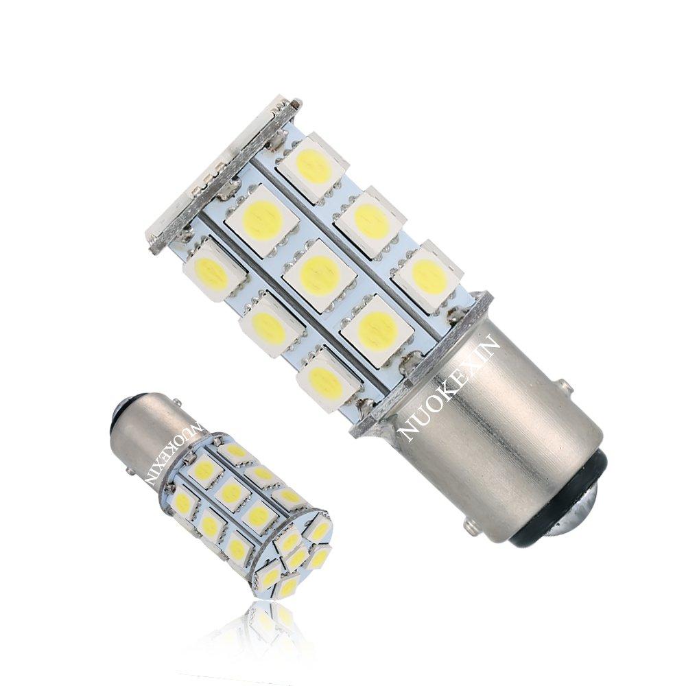 Nuokexin 2 X 6000K 1157 BAY15D 27SMD 5050 Car RV Turn Signal Light, Backup Light, Reverse Parking LED Light Bulbs 7528 2057 2357 White DC 12V huinuoda 1157-27smd-2 Pack