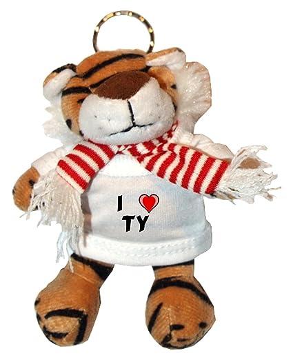 Tigre de peluche (llavero) con Amo Ty en la camiseta (nombre de pila