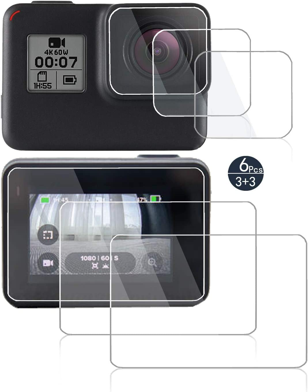 2018 Hero HD Glass Screen Protector Compatible for GoPro Hero 7 Black Hero 6 Hero 5 Action Camera,debous Waterproof Tempered Glass Clera Hard Protective Film Shield Cover Lcd+Lens screen 6pcs only