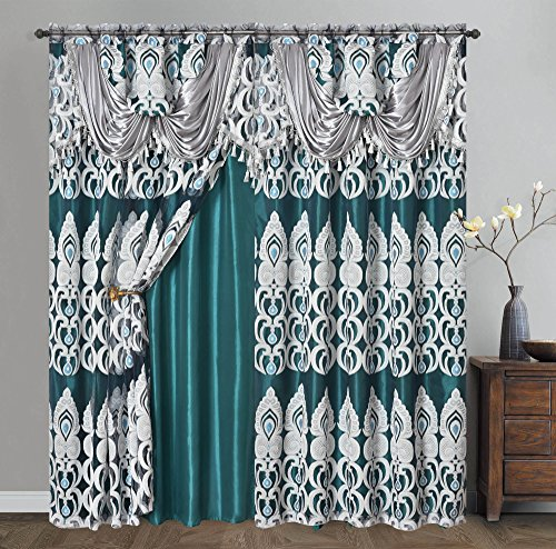 Valance Jacquard Curtain - PEACOCK PRIDE. Clipped voile/ voile jacquard window curtain panel drape with attached fancy valance & taffeta backing. 2pcs set. Each pc 54