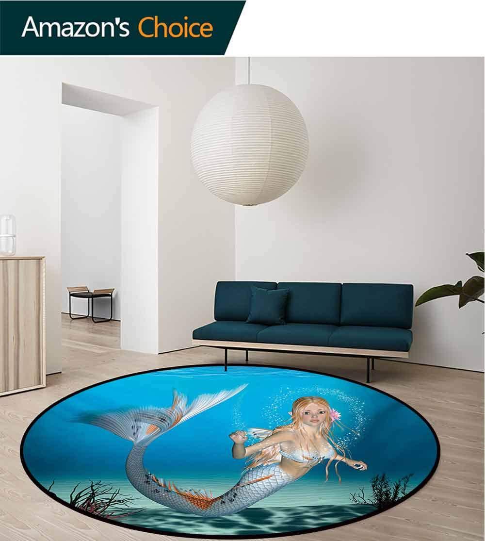 RUGSMAT Mermaid Modern Machine Washable Round Bath Mat,Graphic of A Mermaid in Tropical Ocean Magical Legendary Fairytale Creature Non-Slip Soft Floor Mat Home Decor,Round-71 Inch