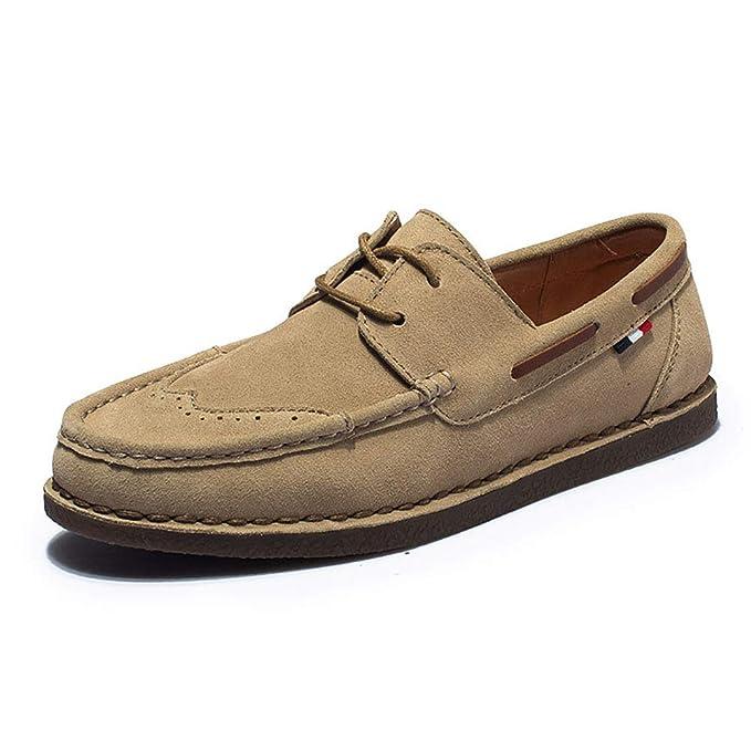FHTD Zapatos De Hombre Gamuza Primavera Otoño Comfort Mocasines Y Slip-ONS Para Zapatos,Khaki,40: Amazon.es: Ropa y accesorios