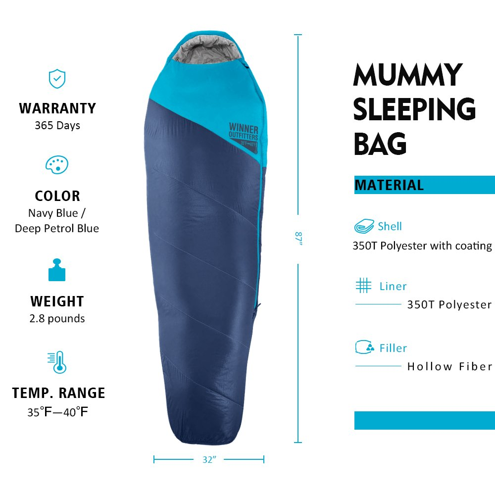 WINNER OUTFITTERS Mummy Sleeping Bag with Compression Sack, It s Portable and Lightweight for 3-4 Season Camping, Hiking, Traveling, Backpacking and Outdoor