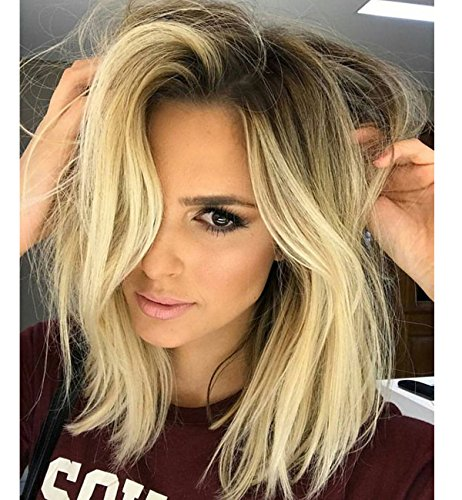 Vedar Celebrity Wigs Summer Design - Layered Bob lace Front Wigs for Women Middle Part Dark Rooted Light Blonde Hair Wigs 16 inches Long Synthetic Hair Bob Wigs with Dark (Celebrity Front Lace Wigs)
