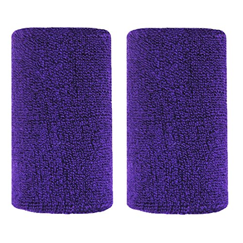 Bbolive 4' Inch Wrist Sweatband in 13 Different Neon Colors - Athletic cotton Terry Cloth-Great for All Outdoor Activity(1 Pair) (Purple)
