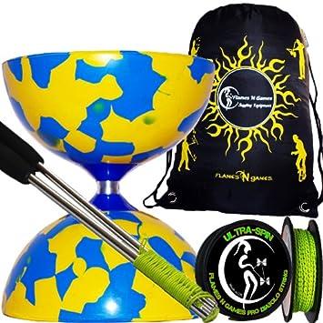 Juggle Dream Jester Diabolo (Azul/Amarillo) con Palos de Aluminio, 10m ULTRA-SPIN Pro Diablo Cuerda y Flames N Games Bolsa de viaje con cordón.