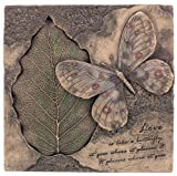 8.5 Inch Cold Cast Bronze Finish Butterfly and Bodhi Leaf Plaque