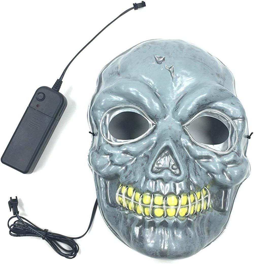Detectoy Mã¡Scara, Mã¡Scara con EL Cool Light Scary Scary Mask Horrible Skeleton Mask Stage Propiedades para Party Dance Halloween Cosplay