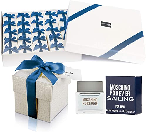 Pack 25 mini perfumes para hombre como detalles de boda para invitados Moschino Forever Sailing Eau de toilette 4,5 ml. original: Amazon.es: Hogar