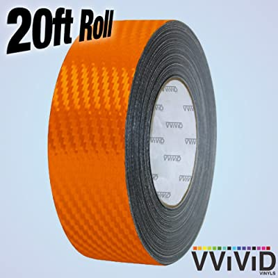 VViViD Dry Carbon Fibre Detailing Vinyl Wrap Tape 2 Inch x 20ft Roll DIY (Orange): Automotive