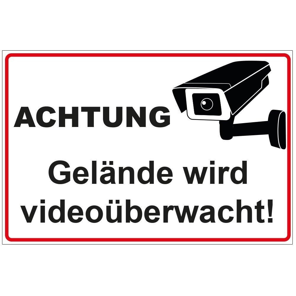 Schild 'Achtung - Gelä nde wird videoü berwacht' aus Alu / Dibond 200x140 mm - 3 mm stark geschenke-fabrik