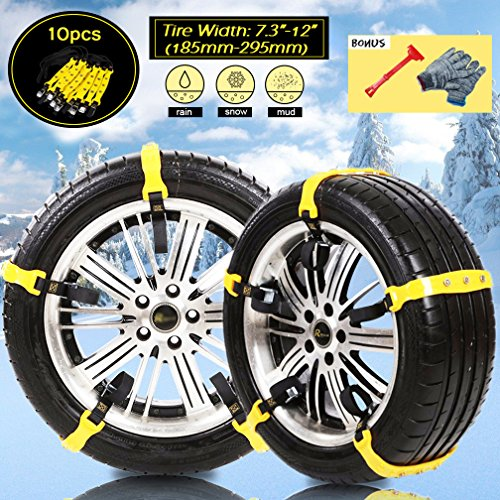 [PATENTED CHAINS ]Anti-Skid Snow Chains Car Safety Chains, Emergency Traction Adjustable Chains...