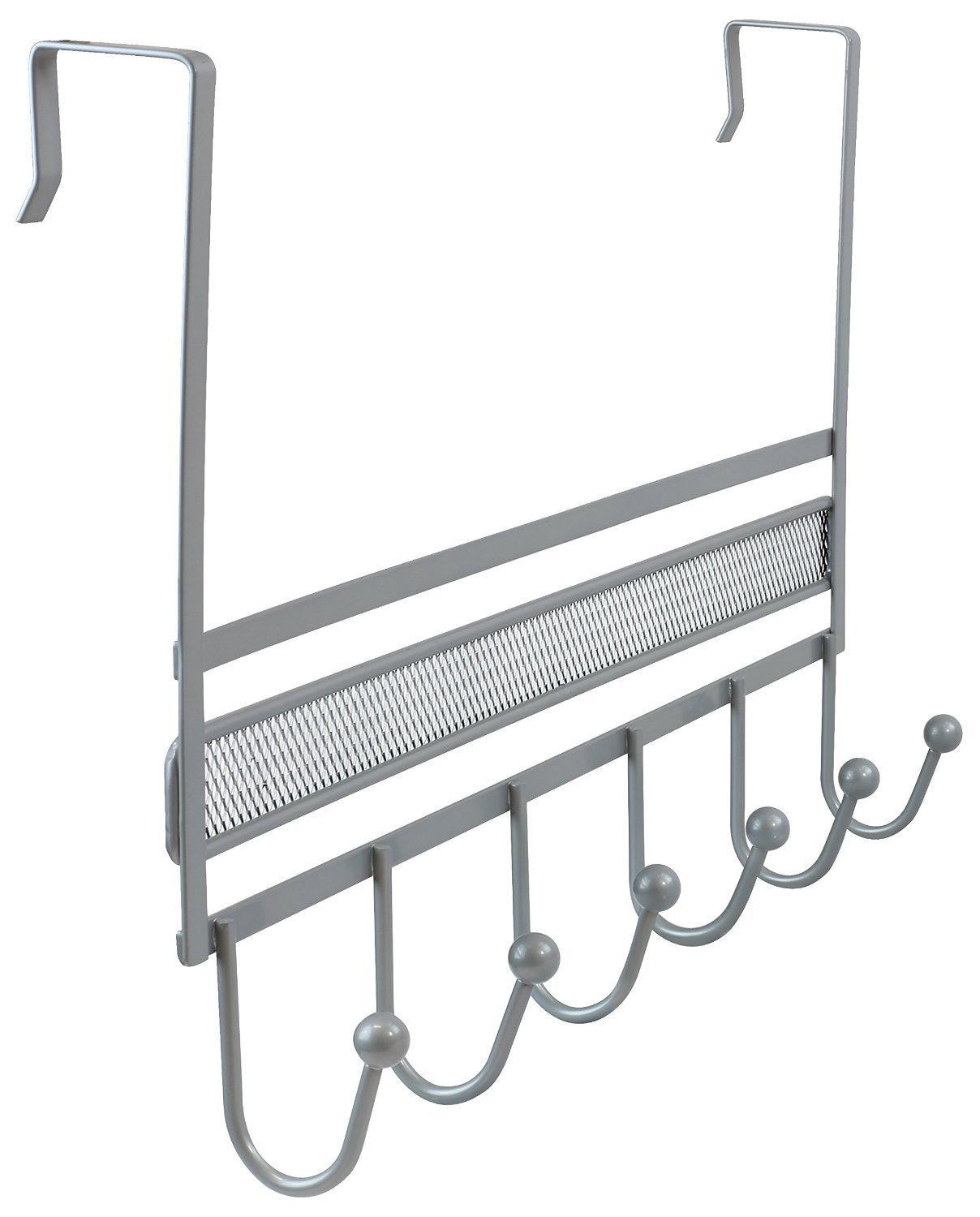DecoBros Over The Door 6 Hook Organizer Rack Silver
