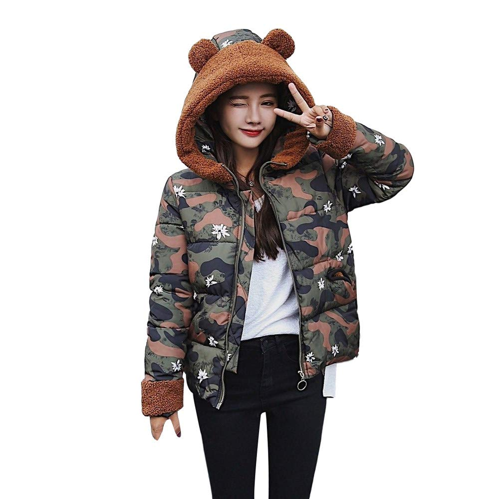 Camouflage Women Camouflage Patchwork Bear Ear Faux Fur Hooded Thick Short Coat