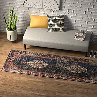 "Amazon Brand – Rivet Distressed Color Medallion Rug, 2'6"" x 8', Navy - Pile: 100% Polypropylene, Backing: 100% Jute Imported Inspired by traditional Persian textiles, this eye-catching design features a color-splashed, faded, all-over medallion pattern. Durable, machine-woven synthetic fibers keep this rug looking fresh and feeling soft to the touch, even in high-traffic spaces. - runner-rugs, entryway-furniture-decor, entryway-laundry-room - 61nDjcJk2bL. SS400  -"
