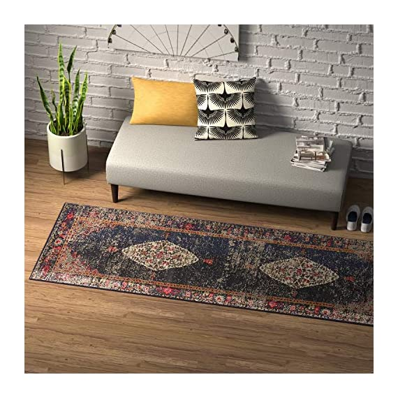 "Amazon Brand – Rivet Distressed Color Medallion Rug, 2'6"" x 8', Navy - Pile: 100% Polypropylene, Backing: 100% Jute Imported Inspired by traditional Persian textiles, this eye-catching design features a color-splashed, faded, all-over medallion pattern. Durable, machine-woven synthetic fibers keep this rug looking fresh and feeling soft to the touch, even in high-traffic spaces. - runner-rugs, entryway-furniture-decor, entryway-laundry-room - 61nDjcJk2bL. SS570  -"