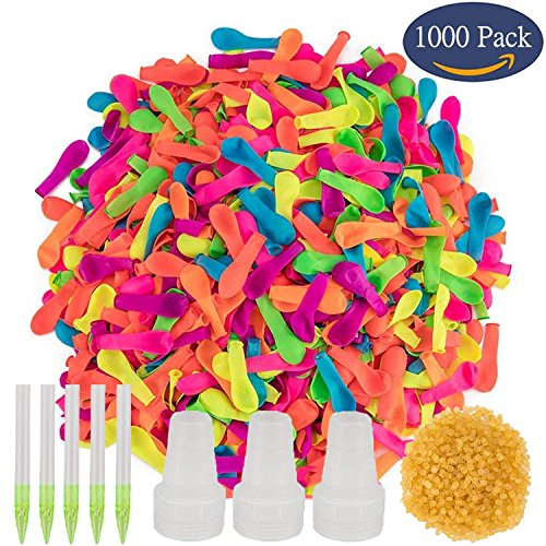 Simona Micah 1000 Pack Water Balloons Bulk Inflatable Refill Quick & Easy Kit Latex Water Bomb Balloons Fight Games - 1000 Balloons + 3 Quick & Easy Hose Nozzle (1000 (Quick Kit)