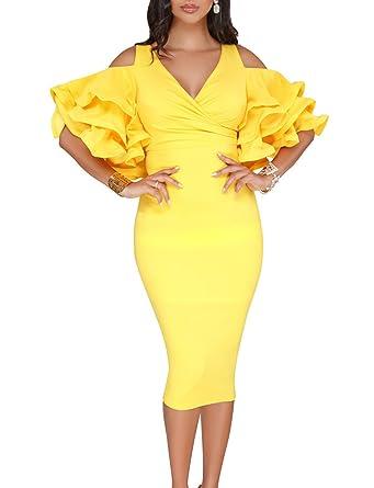 WOZNLOYE Sommer Damen Sexy V-Neck Rüschenärmel Kleid mit Schlitz  Tunikakleid Fashion Midi Kleider Wickelkleider bde187bc96