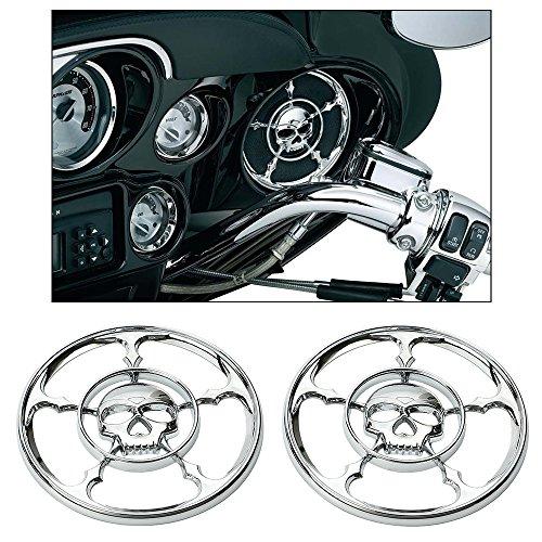 Horn Cover Skull (ECLEAR Chrome Rear Front Speaker Cover Horn Grill Trim For Harley Touring Electra Street Tri Glide 1996-2013 (Skull))