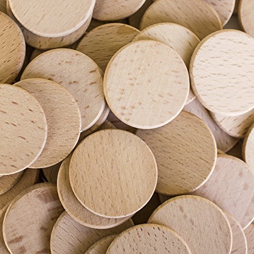Round Unfinished 1.5 Wood Cutout Circles Chips for Arts & Crafts Projects, Board Game Pieces, Ornaments (200 Pieces)