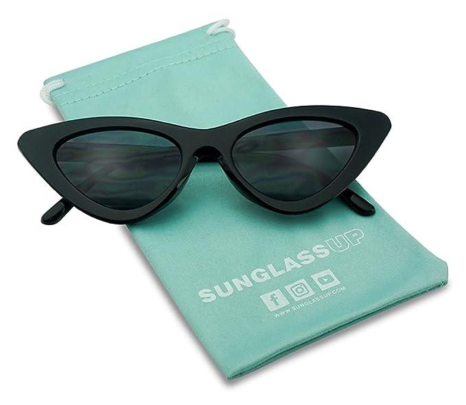 0a9abadab5d SunglassUP Super Retro Vintage Exaggerated Slim Netural Color Frame Cat Eye  Sunglasses (Black Frame