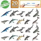 Shark Toy Figure, 20 Pack Rubber Bath Toy Set,Food Grade Material TPR Super Stretchy,ValeforToy Ocean Sea Animal Squishy Floating Bathtub Toy Party Favors,Realistic Shark Dolphin Whale Figure
