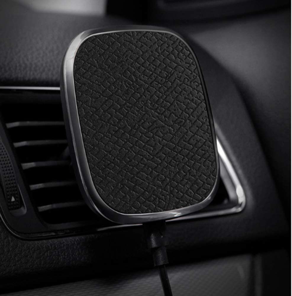 Car Magnetic Leather Phone Case Wireless Charger, black