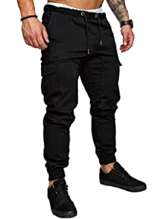 Summer Men/'s Cargo Pants Straight Leg Trousers Casual Low Waist Pencil Jogger DS