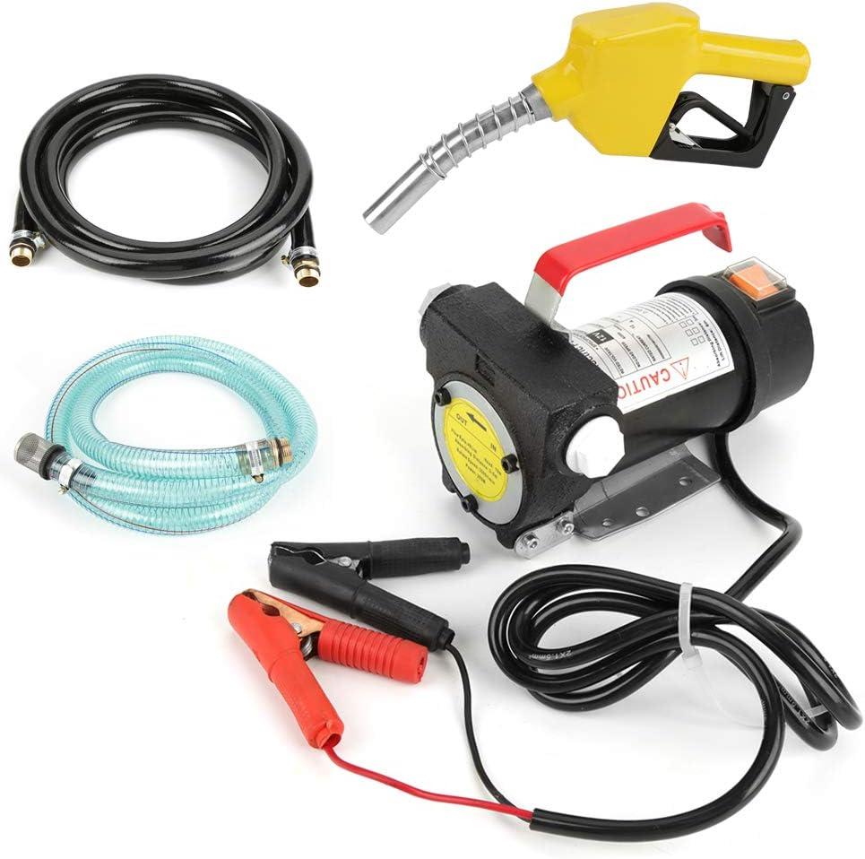 Electric Fuel Transfer Pump Diesel Kerosene Oil Auto 12V w// Inlet //Outlet Hose