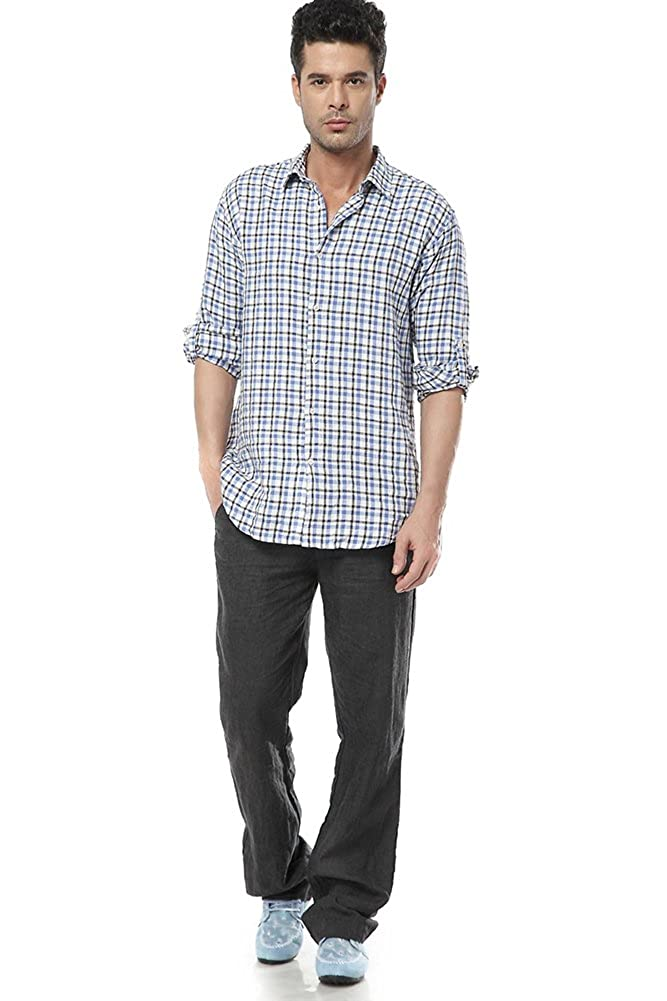 SK Studio Mens Plaid Shirts Long Sleeves Casual Linen Shirt