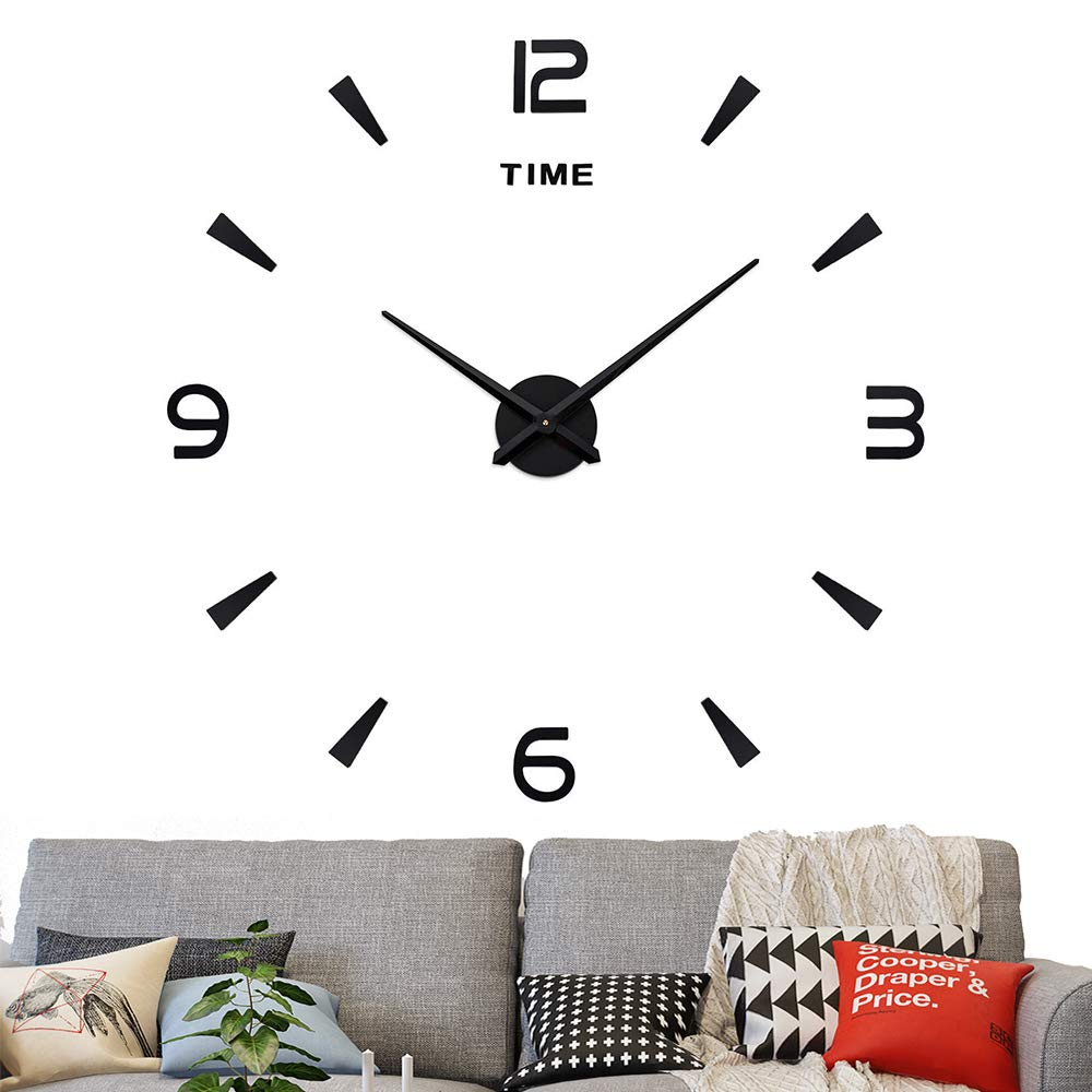 Fanyuanfds Frameless DIY Wall Clock,Large 3D Mirror Wall Clock Home Decorations for Home Living Room Bedroom Office Decoration (Black) (WL04-Black)