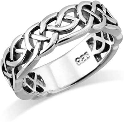 Celtic weave his and her band highlighted shiny silver Alabama silversmith oxidized Woven Classical Traditional Sterling Wedding Ring
