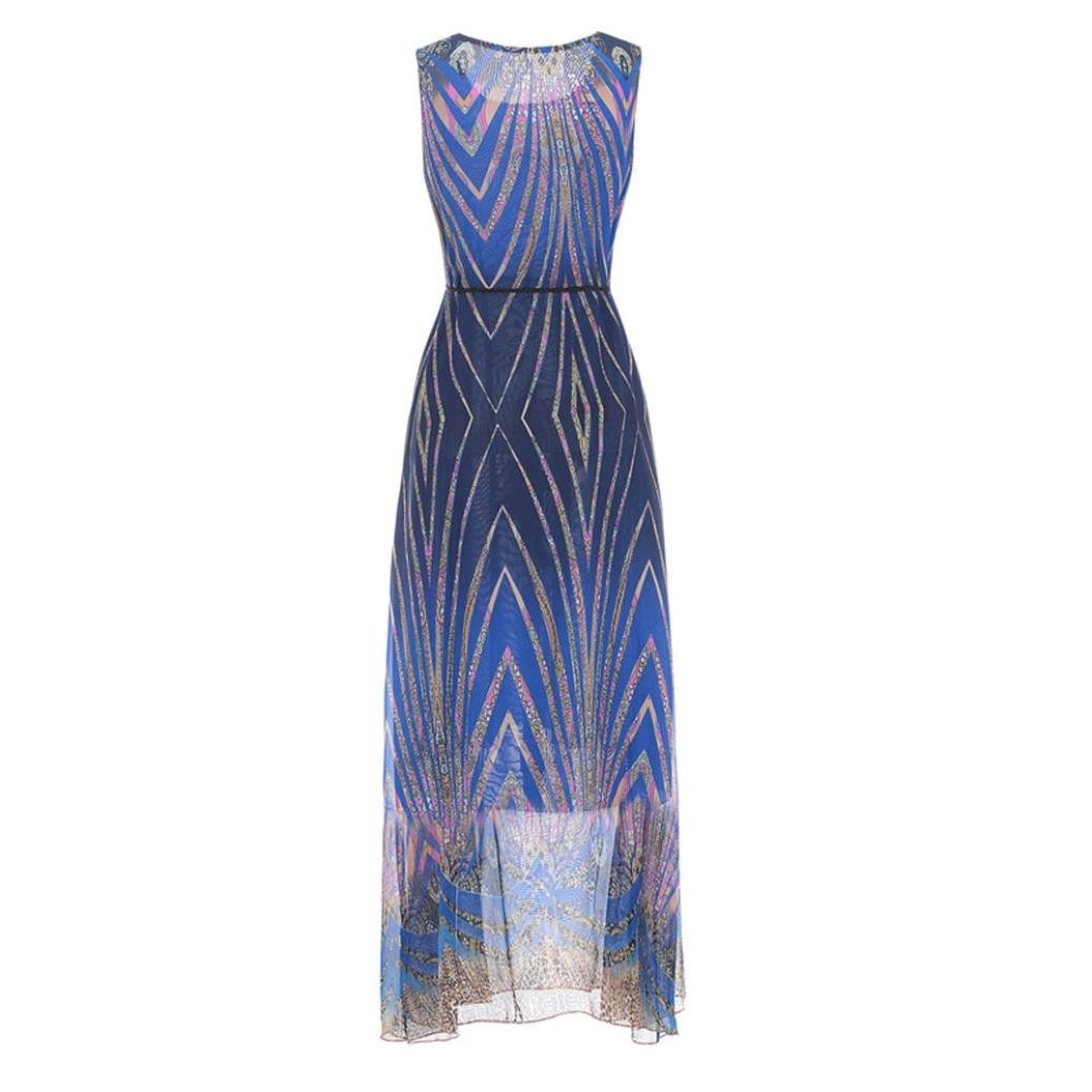 Misaky Maxi Dress, Womens Sleeveless Elegant Casual Chiffon Belt Boho Beach Long Dress at Amazon Womens Clothing store: