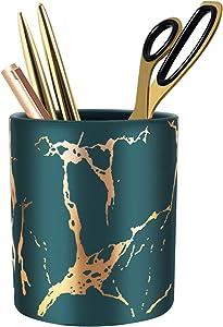 WAVEYU Pen Holder, Stand for Desk Marble Pattern Pencil Cup for Girls Kids Durable Ceramic Desk Organizer Makeup Brush Holder Ideal Gift for Office, Classroom, Home, Green Golden