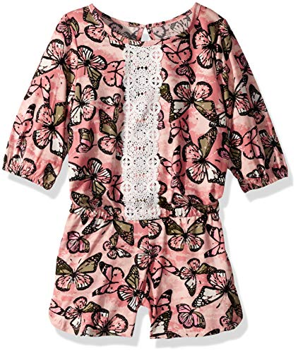 - One Step Up Girls' Big Soft Knit Romper, Dusty Rose Butterfly, 7/8