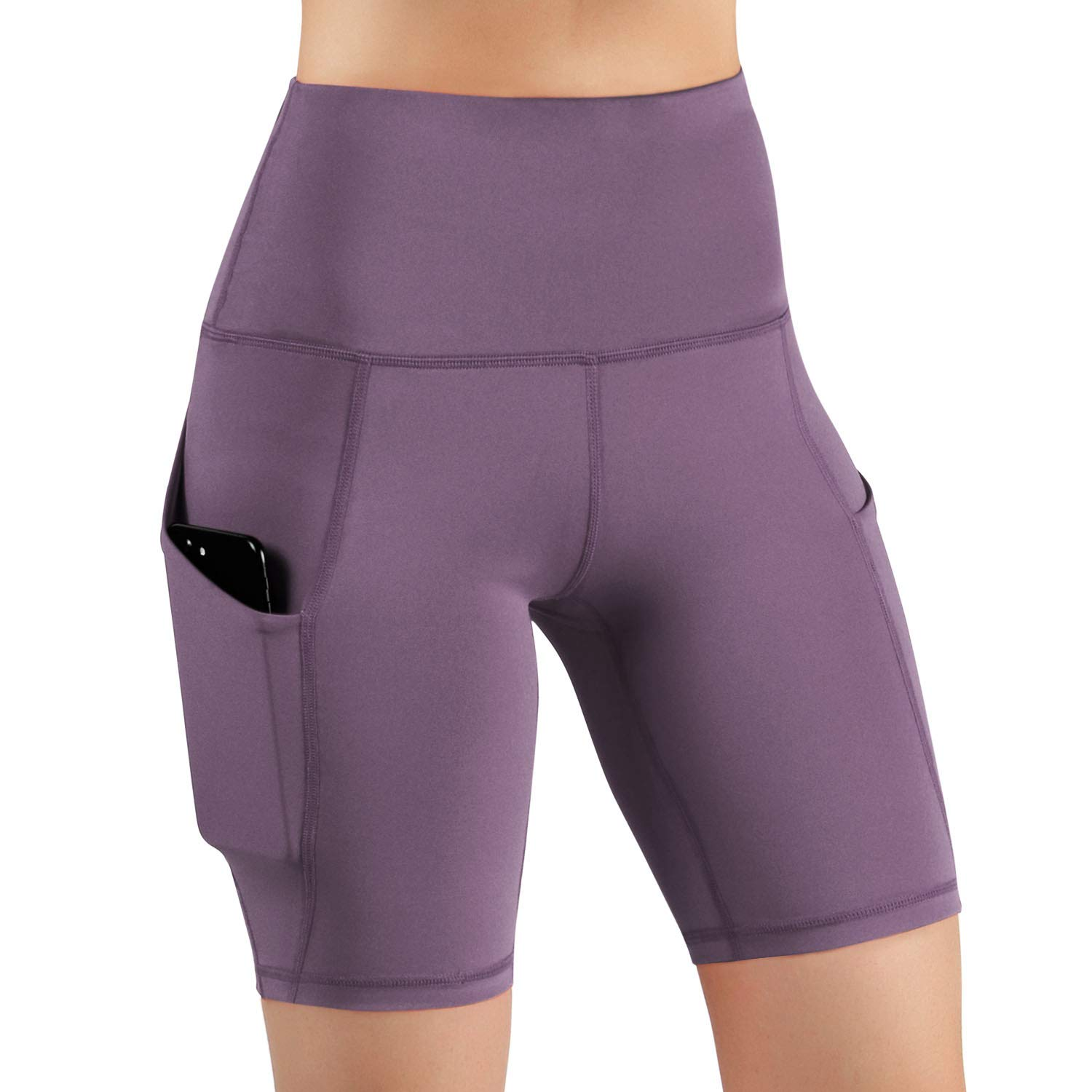 ODODOS High Waist Out Pocket Yoga Short Tummy Control Workout Running Athletic Non See-Through Yoga Shorts,Lavender,X-Small by ODODOS