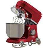 Electric Food Stand Mixer 5L Mixing Bowl, 3-in-1 Dough Hook, Whisk & Beater 800W by Cooks Professional (Stainless Steel Bowl, Red)