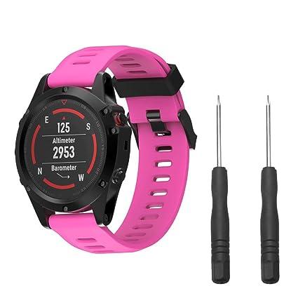 Zolimx Correa De Silicona Suave De Repuesto para Garmin Fenix 5X Reloj GPS con 2Pcs Destornilladors