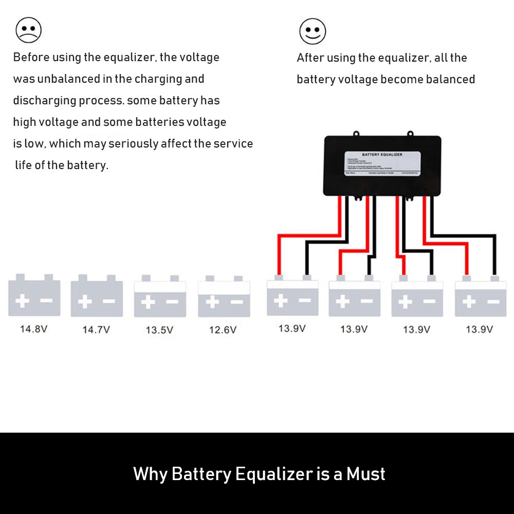 Battery Equalizer 48v Voltage Balancer Max 4 48 Volt Charger Circuit On 9 Schematic Circuits 12v Bank Extend Life 1 Year And More Support Gel Flood Agm Lead Acid