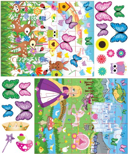 Mona Melisa Designs Peel and Stick Puzzle Wall Decorative Stickers, Princess/Butterfly