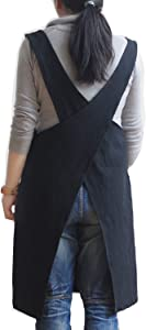 AOBBYBBS Soft Cotton Linen Apron Solid Color Halter Cross Bandage Aprons Japan Japanese Style X Shape Kitchen Cooking Clothes Gift for Women Chef Housewarming (Black)