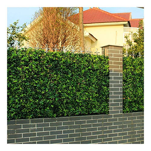 ULAND Artificial Hedges Panels, Boxwood Greenery Ivy Privacy Fence Screening, Home Garden Outdoor Wall Decoration, Pack of 6pcs 20