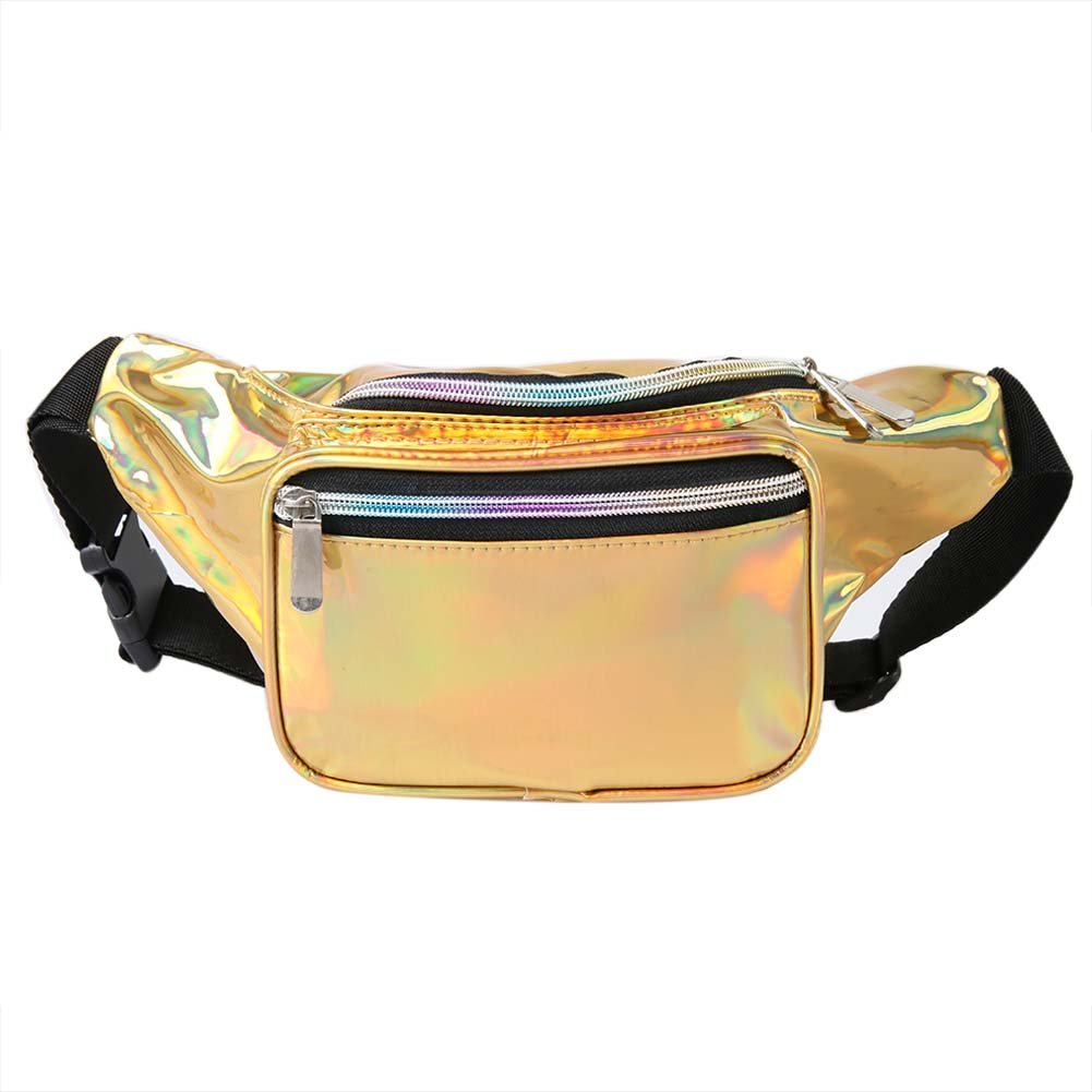 Holographic Fanny Pack for Women - Waist Fanny Pack with Adjustable Belt for Rave, Festival, Travel, Party … (Silver) Party … (Silver) 39-M522-B2F1