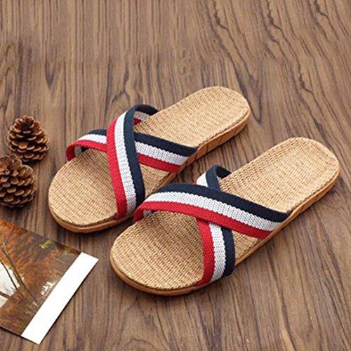 Hunpta Women Men Anti-slip Linen Home Indoor Summer Open Toe Flats Shoes Slippers Red ZveVAz