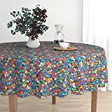 Roostery Round Tablecloth - Polyhedron Photographic Game Polyhedral Gaming Dungeons and Dragons Dice by Weavingmajor - Cotton Sateen Tablecloth 70in