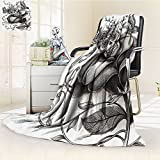 Nalohomeqq Mexican Decorations Collection Art Skull Day of the Dead Catholic Butterfly Rose Flower Holiday Culture Image Pattern Microfiber Fabric Blanket Hypoallergenic Printed Fleece Blanket Gray
