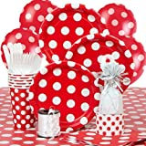 Red Polka Dot Party Supplies Kit for 8