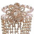Efulgenz Rhinestone Crystal Hand Chain Bracelet Ring, Slave Chain Link Finger Ring Harness Bracelet Women Girls Brides Bridesmaid