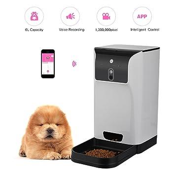 App Alimentador Automático De Mascotas Dispensador De Alimentos para Gatos/ Perros Almacenamiento 6L con Cámara Grabadora De Voz Conexión WiFi Compatible ...